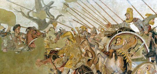 """Ausschnitt aus dem """"Alexandermosaik"""", Nationalmusseum Neapel"""